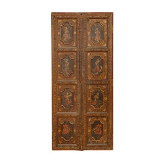 Antique Painted Indian Doors - A Pair For Sale