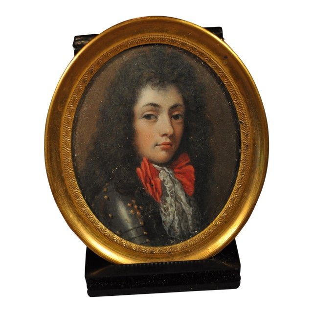 Miniature Portrait of Young King Louis XV Wearing a Suit of Armor 19th C. For Sale