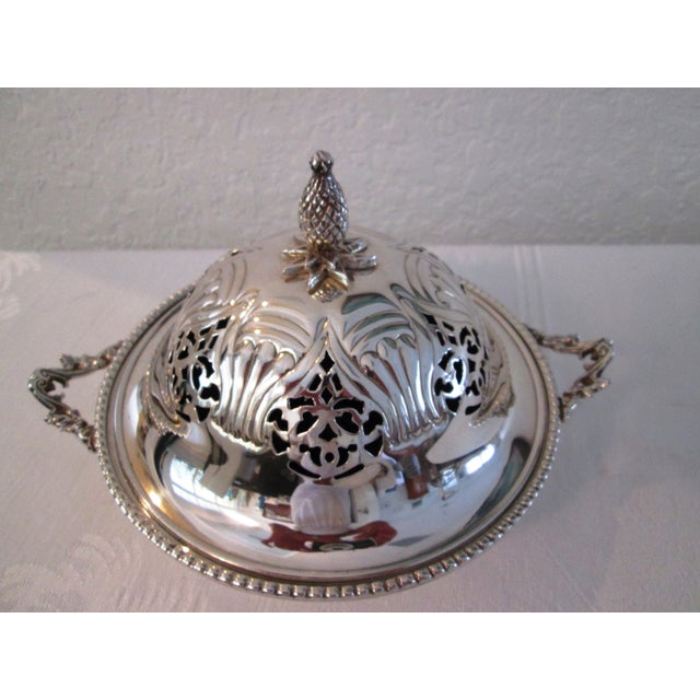 English Silver Lidded Bowl With Glass Insert - Image 3 of 11