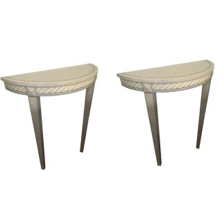 French Style - Hand Painted Trompe-l'Oeil Demilune Tables For Sale