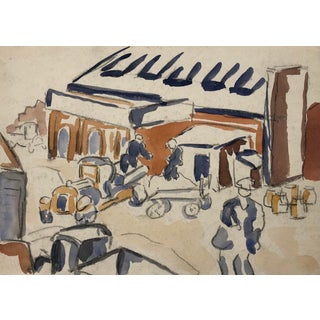 New York City Street Scene Watercolor by Alf Evers, 1930s For Sale