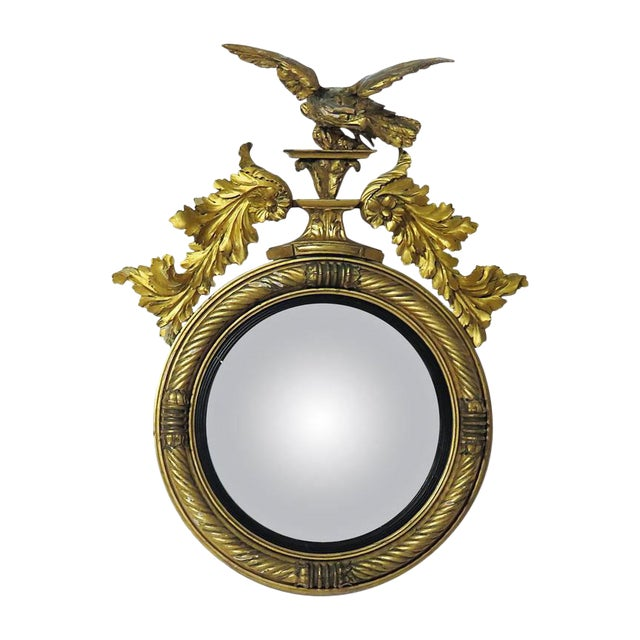 Large 1810 English Regency Period Convex Mirror For Sale