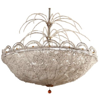 Art Deco Rene Lalique Style, Crystal Basket Chandelier For Sale