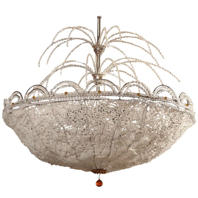 Art Deco Rene Lalique Style, Crystal Basket Chandelier For Sale