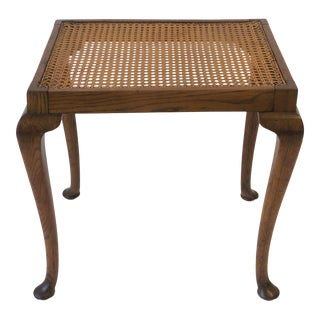 Antique Cane and Wood Side or End Table For Sale