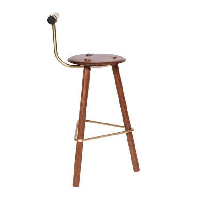 Walnut tripod stool with lacquered backrest and satin brass supports. Designed by Ben Erickson for Erickson Aesthetics ....