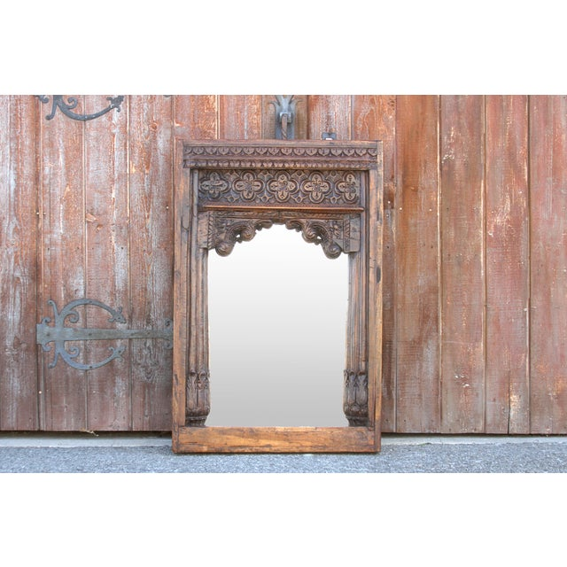 Beautiful Old Hindaun Jarokha Carved Mirror For Sale - Image 10 of 11