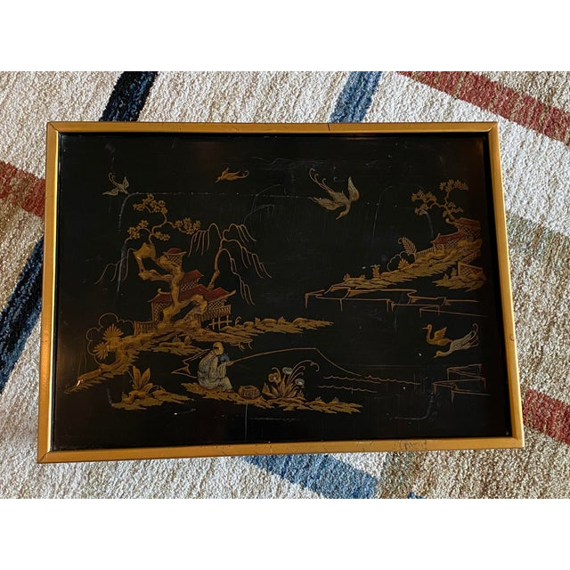 A vintage chinoiserie side table by luxury furniture maker, Drexel Heritage. The table is from their sketchbook...
