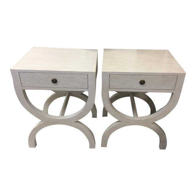 Vintage Off-White Curved X Base Side Tables - a Pair For Sale