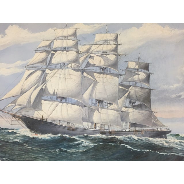 Wendell F. Collum Large Ship Painting For Sale - Image 5 of 9