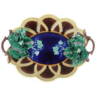 19th Century Antique Majolica Wedgwood Handled Basket Platter
