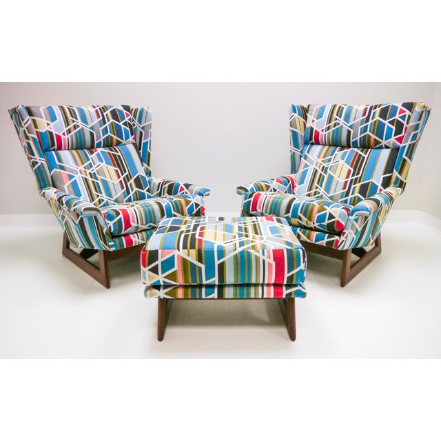 Sky Blue Adrian Pearsall Wingbacks W/ Ottoman - Set of 3 For Sale - Image 8 of 8