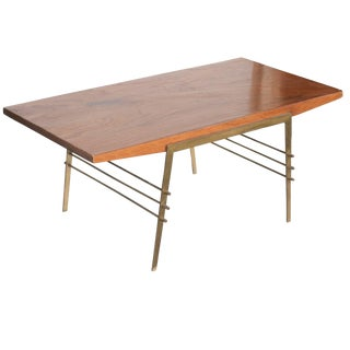 Mid-Century Oak Coffee Table With Brass Architectural Base For Sale