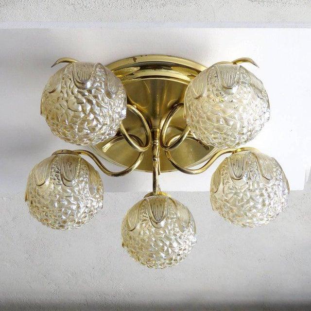 Mid-Century Modern 1960s Mid-Century Modern Five-Globe Flush Mount Chandelier For Sale - Image 3 of 11