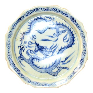 Chinese Blue White Round Oriental Dragon Graphic Porcelain Plate For Sale