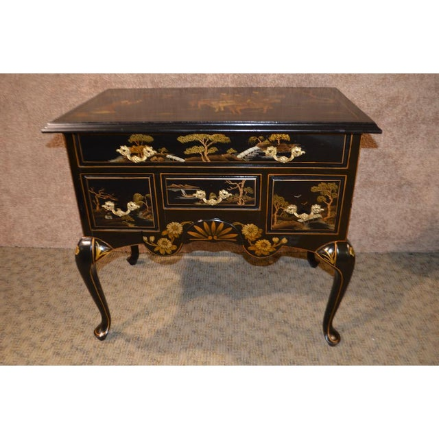 Vintage Hand Painted Chinoiserie Lowboy - Image 8 of 11