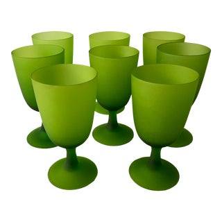 1960s Mid-Century Modern Handblown Wine Glasses, Italy - Set of 8 For Sale