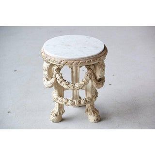 Victorian Side Table With Detailed Carvings Paint Finish and Marble Top Preview