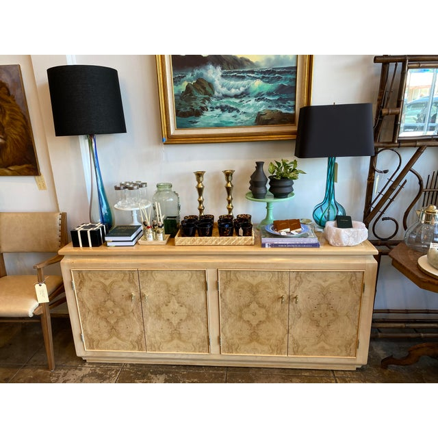 Mid-Century Modern Blonde Burled Wood Credenza For Sale - Image 11 of 12