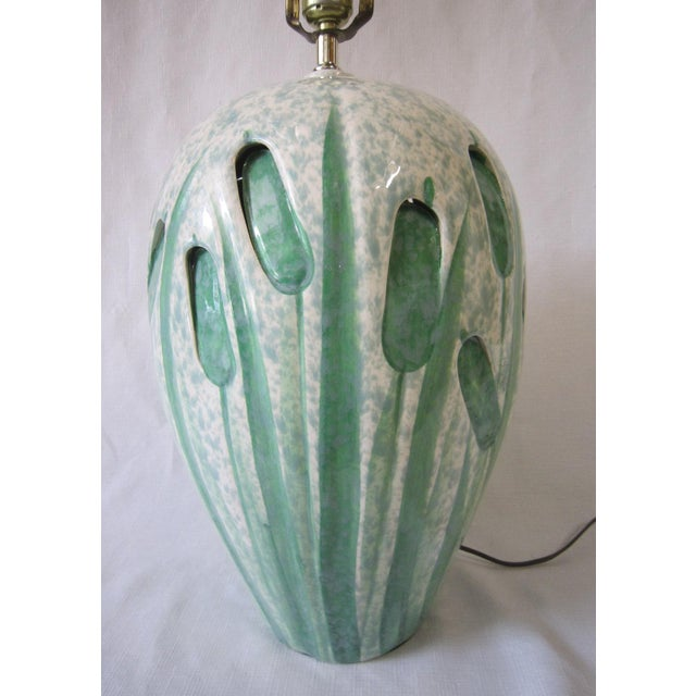 1960s Mid-Century Art Pottery Lamp For Sale - Image 5 of 7