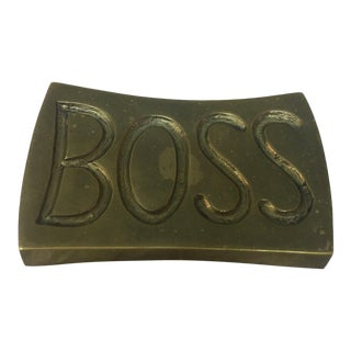 Brass Boss Paperweight For Sale