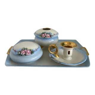 Early 20th Century French Porcelain Dresser Set - Set of 4 For Sale