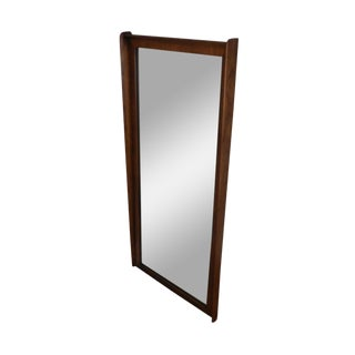 Mid Century Modern Danish Style Walnut and Pecan Frame Wall Mirror For Sale