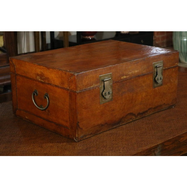 Mid 19th Century Chinese Vellum Trunk For Sale - Image 4 of 8