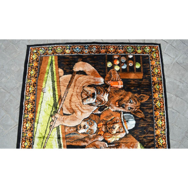 1980s Vintage - Dogs Playing Pool - Wall Tapestry Wall Rug - 49ʺ X 70ʺ For Sale - Image 5 of 10