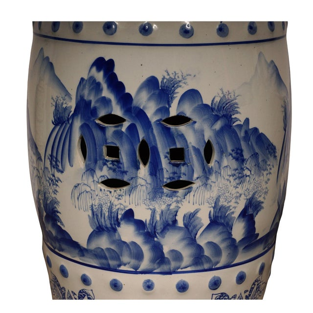 Mid 20th Century Vintage Chinese Blue and White Ceramic Stool For Sale In Los Angeles - Image 6 of 8