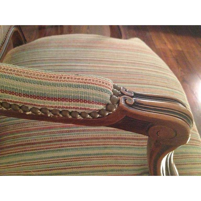 Pair of French Walnut Upholstered Armchairs For Sale - Image 9 of 11
