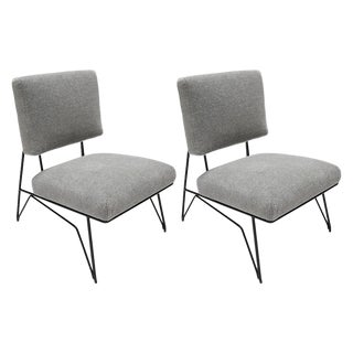 1960s Style Metal Chairs in Gray Alpaca - a Pair For Sale