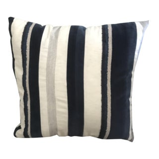 """20"""" Stripped Blue and Cream Pillow"""