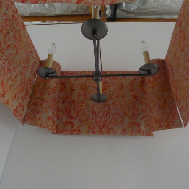 Orange Modern Draped Chandelier in Vintage Fortuny Fabric by Paul Marra For Sale - Image 8 of 11