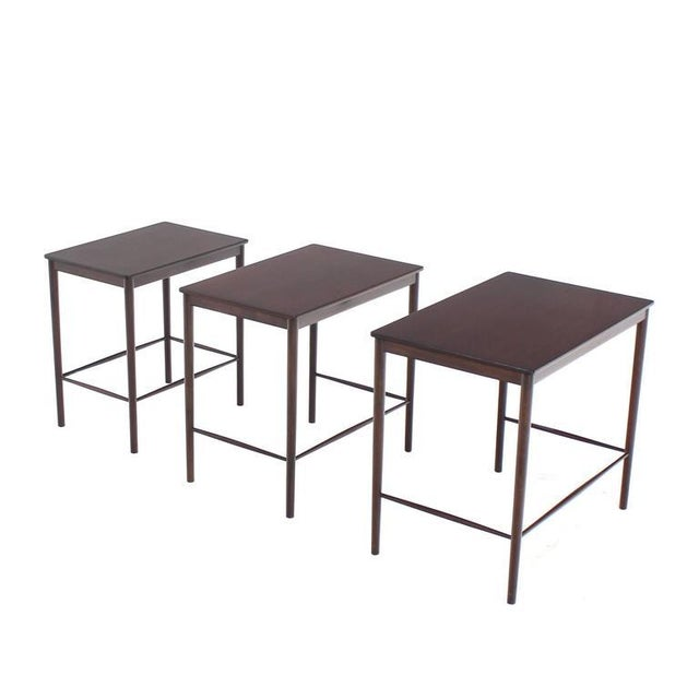 Mid-Century Modern Very Nice Set of Three Rosewood Danish Nesting Tables For Sale - Image 3 of 9