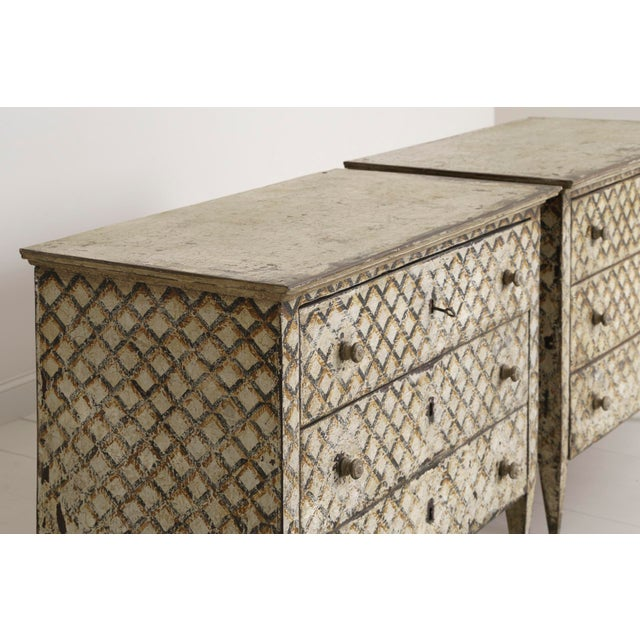 Pair of Italian Neoclassical Style Crosshatch Painted Commodes For Sale - Image 9 of 12