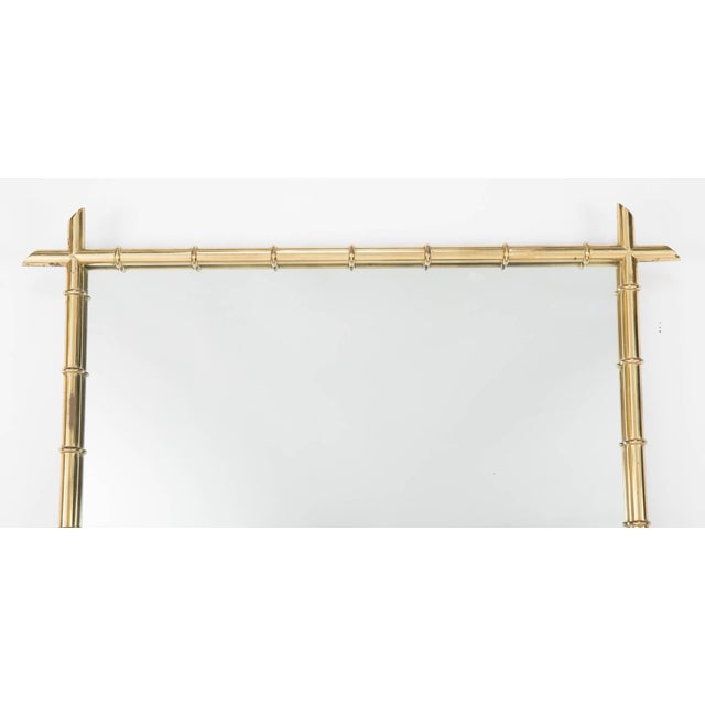 Asian Hollywood Regency Faux Bamboo Brass Mirror For Sale - Image 3 of 8