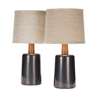 Griffin Lamp in Anthracite Glaze With White Oak Neck - a Pair For Sale