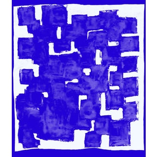 Suga Lane - Blue Block Thought Modern Print For Sale