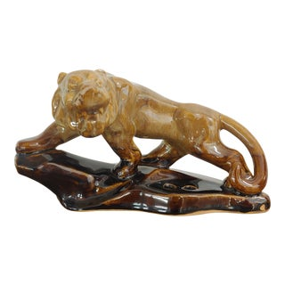 Vintage 1980s Drip Glaze Ceramic Lion Pen Holder for Desk For Sale