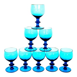 Mid-Century Blenko Turquoise Art Glass Stemmed Glasses - Set of 8