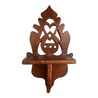 Antique Carved Trinket Mini Wall Shelf For Sale