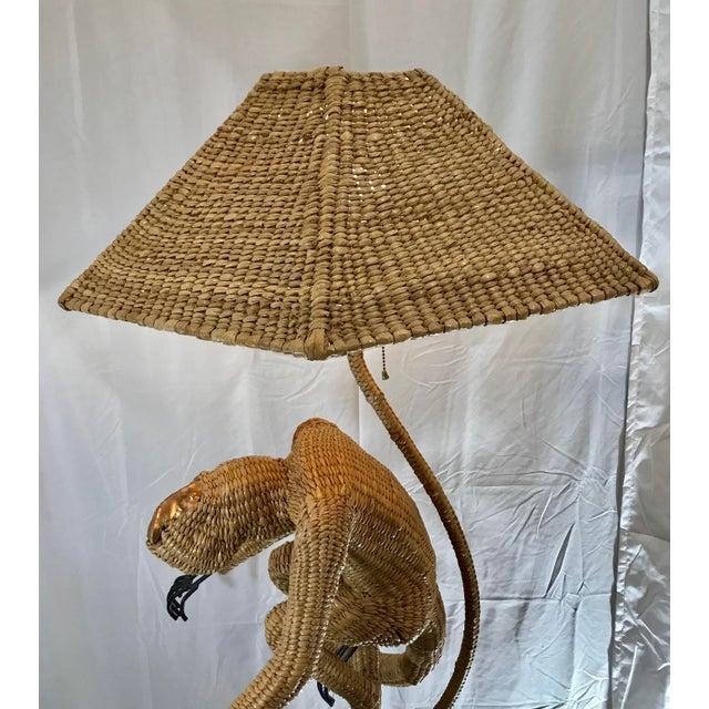 1970s Mario Lopez Torres Mid-Century Wicker Monkey Floor Lamp For Sale - Image 11 of 13