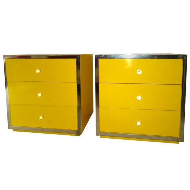 Mid-Century Modern Yellow Nightstands - A Pair - Image 4 of 6