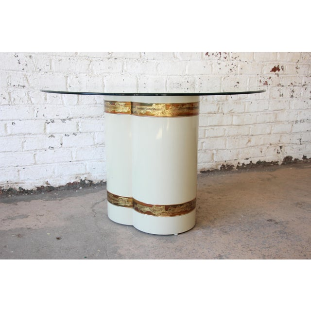 Bernhard Rohne for Mastercraft Acid Etched Brass Cream Lacquered Pedestal Dining Table For Sale - Image 5 of 12