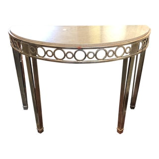 New Cole Marble & Metal Demilune Console by Panache Designs For Sale