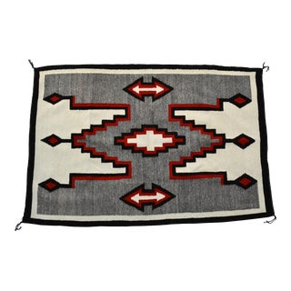 """1940s Native American Navajo Handwoven Rug-3'6'x5'2"""" For Sale"""