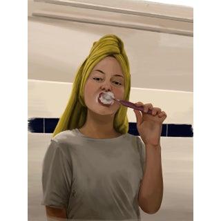 """Bathroom Girl"" Contemporary Portrait Print For Sale"