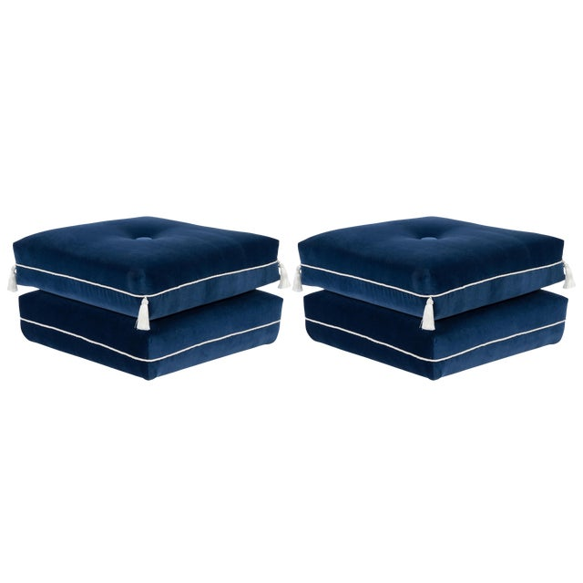 Casa Cosima Turkish Ottoman in Cadet Blue Velvet, a Pair For Sale