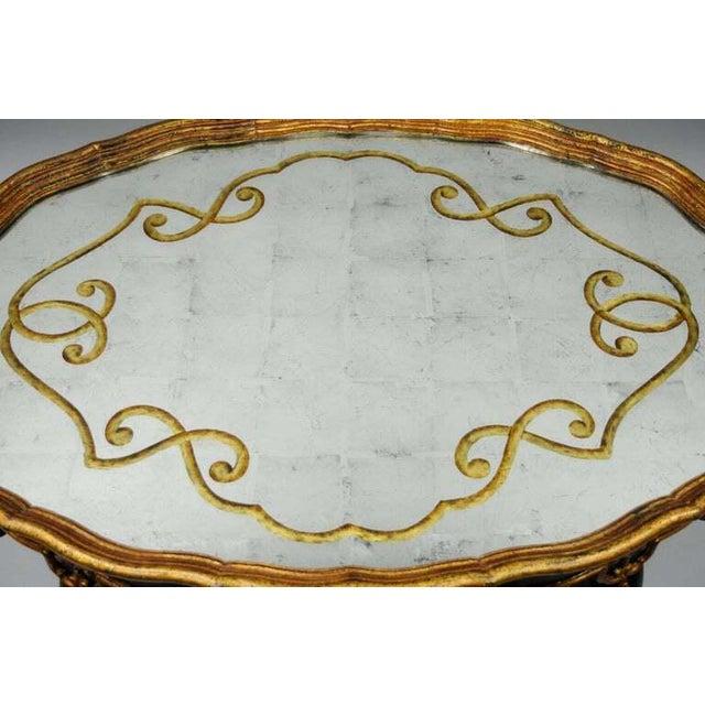 Louis XVI Black & Gold Tassel and Églomisé Mirror Top Coffee Table For Sale In Philadelphia - Image 6 of 11